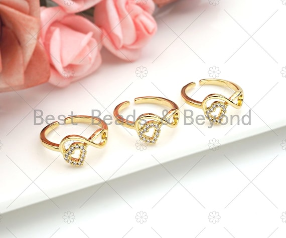 Infinity Heart Ring, Gold Open Ring, Pave ring, Statement Ring, Bridesmaid Gift, Dainty Heart Ring, Wedding Ring, sku#JL22