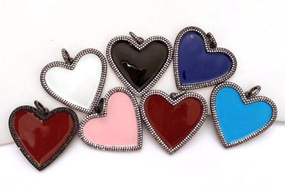 Gold Tone Valentines Day Charms Jewelry Findings 45mm  -C293 Large LOVE Enamel Pendant 1pc