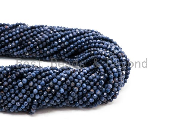 High Quality Natural Sapphire beads, 4mm/5mm, Faceted Round Sapphire Gemstone Beads, 15.5inch strand, SKU#U232