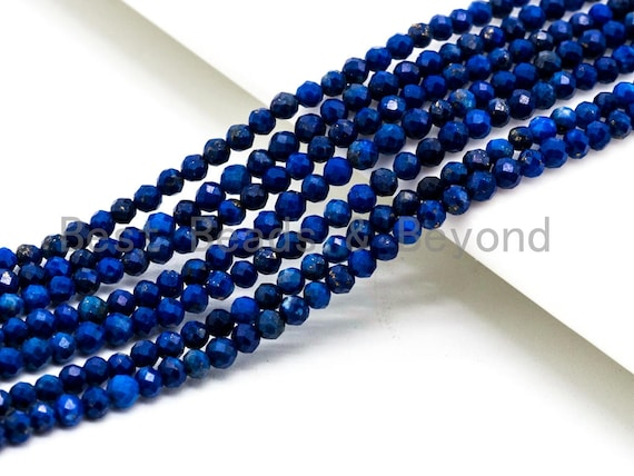 High Quality Natural Lapis Round Faceted beads, 2mm/3mm/4mm/5mm Round Lapis Gemstone Beads, 15.5inch strand, SKU#U75
