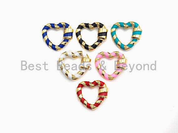 PRESELLING Colorful Enamel Pave Heart Shape Clasp, Carabiner Clasp, 21mm, sku#H250/K77