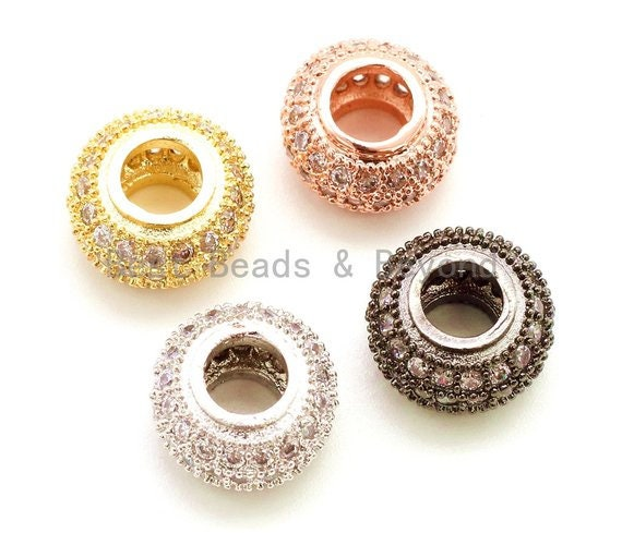 1pc/5pcs CZ Donut Shaped Micro Pave Large Big Hole Beads, Cubic Zirconia Space Beads,Slider Beads, 12x5mm, #G126