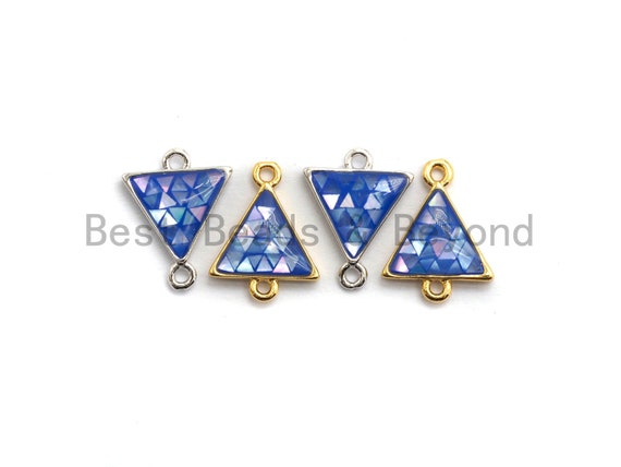 100% Natural Blue Color Shell Triangle Connector with Gold/Silver Finish,Blue Shell Connector, Sea Shell Beads, 11x14mm,SKU#Z268