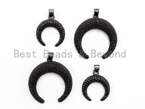 Black CZ Pave On Black Micro Pave Crescent Moon Charm Beads, Micro Paved Horn Pendant,30x31/19x22mm, sku#F399