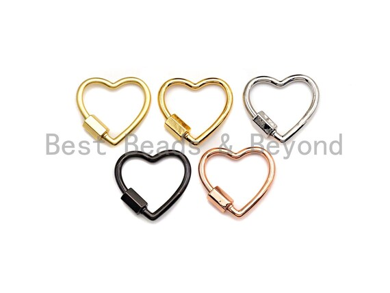 PRESELLING pave Heart Shape Clasp, Black/Gold/Silver/Rose Gold Carabiner Clasp, 21mm, sku#H245