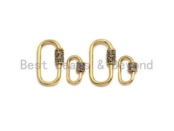 Colorful CZ Micro Pave Oval Shape Clasp, Gold Plated U Shape Clasp, Pave Lock, Carabiner clasp, 17x29mm/12x19mm, sku#K83
