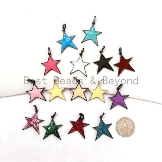 Enamel Colorful Star Charms, Enamel Oil drop Star Pendant, Yellow/Black/White/Pink/Blue/Red/purple Star Charms, 22x30mm, sku#F593S