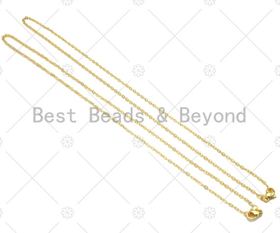 24K Gold Finished Trace Link Chain Necklace, 0.9mm/1.5mm Trace Oval link Chain Necklace, Ready to wear w/Lobster Clasp, 17.5inch,sku#JD03