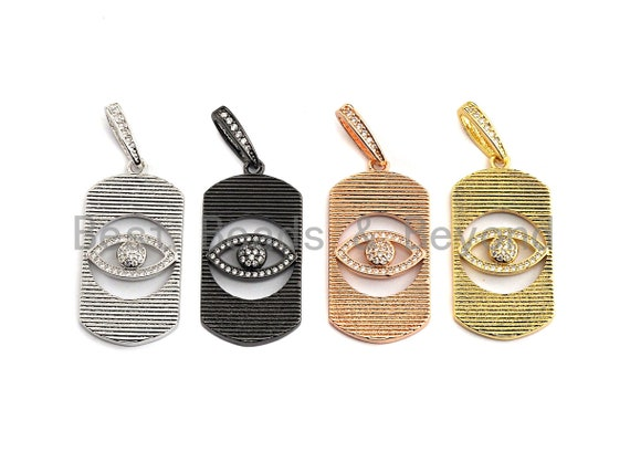 PRE-SELLING CZ Micro Pave Hollow out Evil Eye Oval Shaped Pendant/Charm, Cubic Zirconia Pendant Charm,17x33mm,sku#F911