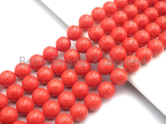 Quality Orange Mother of Pearl beads, 6mm/8mm/10mm/12mm/14mm Pearl Faceted Round, Loose Faceted Pearl Shell Beads, 16inch strand, sku#T118