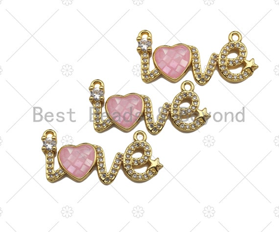 CZ Micro Pave Pink Mother of Pearl Heart On Love Shape Pendant, Cubic Zirconia Love Heart Pendant, Gold Tone pendant, 12x27mm, sku#LK176