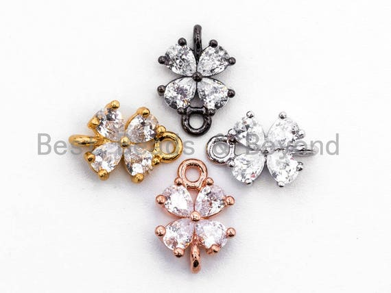 Clear CZ Micro Pave Four Leaf Flower Connector for Necklace/Bracelet, Cubic Zirconia Space Connector in Gold, 8x12mm, sku#A67