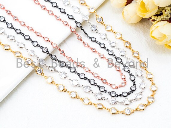 1 Foot/Yard- CZ Beaded Chain-4mm/6mm Cubic Zirconia Beads-Gold Silver Rose Gold Gunmetal Plated Bezel Chain, Bezel Connector Beads, sku#E346