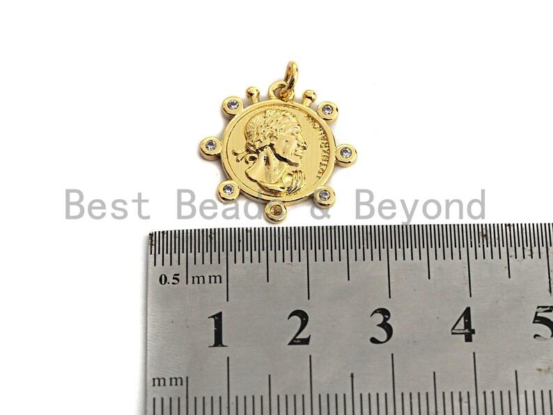 Medallion Coin PendantCharm 20x20mm,Sku#Z449 Medallion Cubic Zirconia Pendant SilverGold Tone
