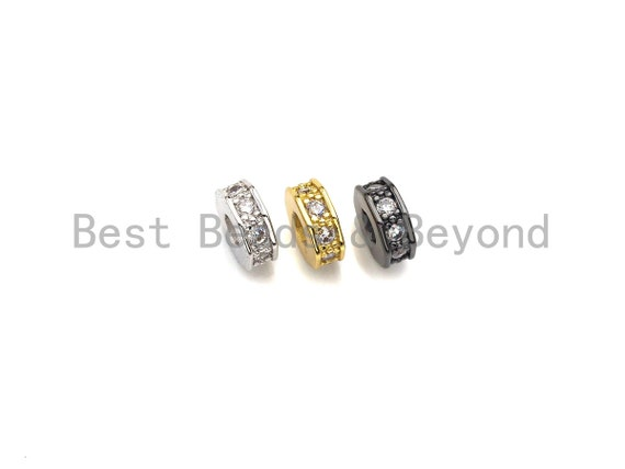 PRESELLING Big Hole CZ Pave Donut beads, Cubic Zirconia Spacer Beads, European Large hole Bead, 3x7mm, sku#Z882
