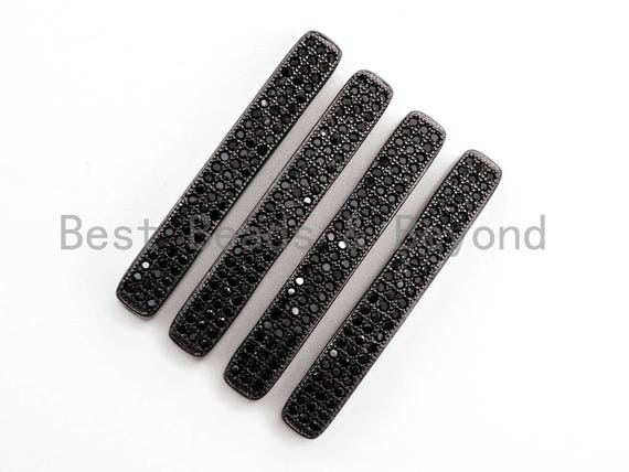 Black CZ Pave On Black Micro Pave rectangular Bar spacer Beads Findings, CZ Pave Connector, 5x36x4,sku#G309