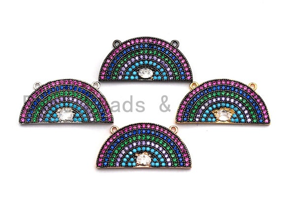PRE-SELLING Colorful CZ Micro Pave Rainbow Shape Pendant ,13x27mm,Cubic Zirconia Rainbow Charm,sku#F863