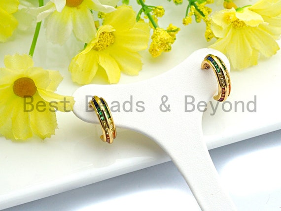 PRE-SELLING Colorful CZ Micro Pave Rainbow Cuff Stud Earring, Gold earrings, Huggies Earrings,Minimal earrings,4x16mm,sku#J119