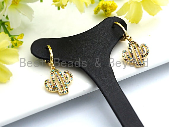 PRE-SELLING Clorful Cz Micro Pave Cz Latch Back Earring Wires, Cactus Earrings, Colorful CZ micro pave earrings, 16x31mm, sku#J70