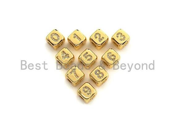 Arabic Number Beads, CZ Pave Dice Large Hole Spacer Beads, Birthday Beads, Initial beads, Number Beads, 8.5mm,sku#Z721/722