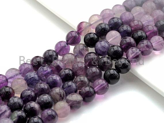 "Natural Purple Fluorite, Round Smooth 6mm/8mm/10mm/12mm, 15.5"" Full Strand, sku#U646U640"