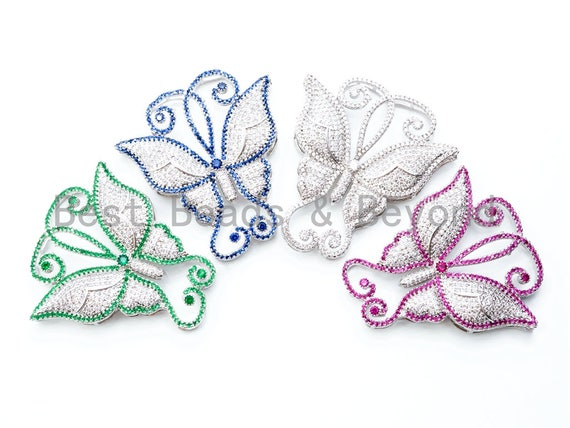 CZ Micro Pave Silver Rhodium Plated Blue/Green/Fuchsia/Silver Butterfly Pendant Tassel Head, CZ Pendant Link Connector, 52x50mm, sku#L164