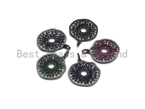 PRE-SELLING Cz Micro Pave Cobalt/Fuchsia/Green/Black Filigree Hollow Out Flower Pendant, CZ Pave Focal Pendant, 35x33mm sku#F638