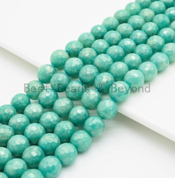 Mystic Silverite Plated Faceted Emerald Jade beads, 6mm/8mm/10mm Plated Tear Green Jade Beads, 15.5inch strand, SKU#U343