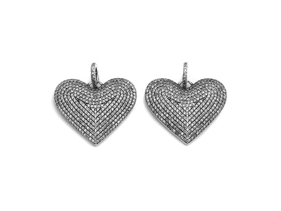 PRE-SELLING CZ Micro Pave Heart Pendant, Antique Silver Tone, Clear Cubic Zirconia Big Pave Heart Charm Pendant, 31x26mm,sku#F994
