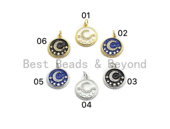 NEW DESIGN Pave CZ Enamel Moon Star Charms Pendant, Enamel Pendant,Enamel Round Pendant, Oil Drop jewelry Findings, 16x18mm,sku#Z252