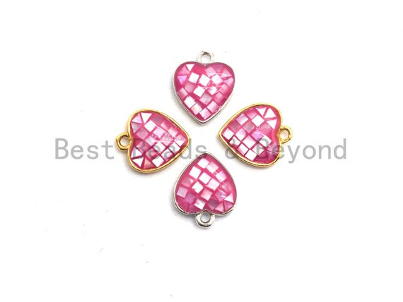100% Natural HOT PINK Color Heart Shape Pendant in Gold/Silver Finish, Fuchsia pink Shell, pink heart Charm, 10x12mm,SKU#Z315