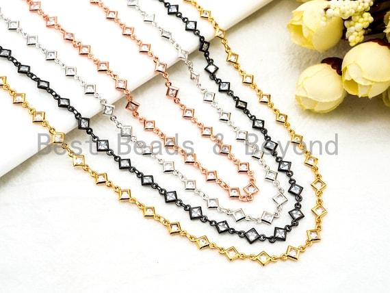 1 Foot/Yard-CZ Beaded Chain-4mm Diamond Shape CZ Beads-Gold Silver Rose Gold Gunmetal Plated Bezel Chain,Bezel Connector Beads,sku#E365