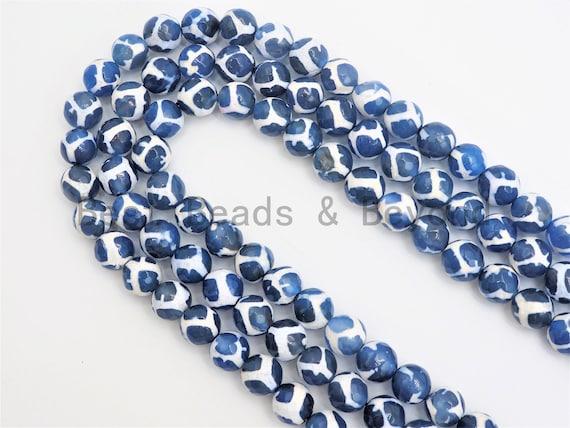 Quality DZI Blue White Agate beads, Round Tibetan Agate Beads, 6mm/8mm/10mm, 15.5inch strand, SKU#U408