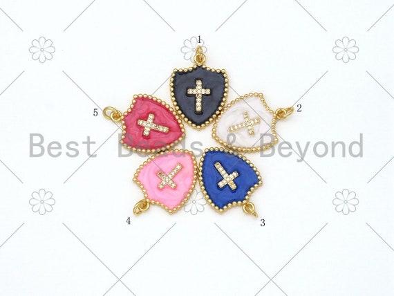 Micro Pave CZ Cross On Colorful Enamel Shield Shape Pendant,18K Gold Filled Enamel CZ Cross Charm,Enamel Jewelry, 24x18mm,Sku#L592