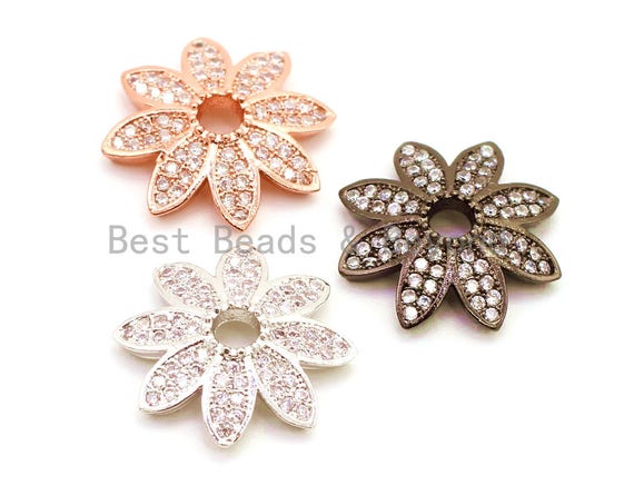2pcs/4pcs CZ Micro Pave Flower Bead Cap, Cubic Zirconia Bead Cap, 12x2.5mm,sku#G89