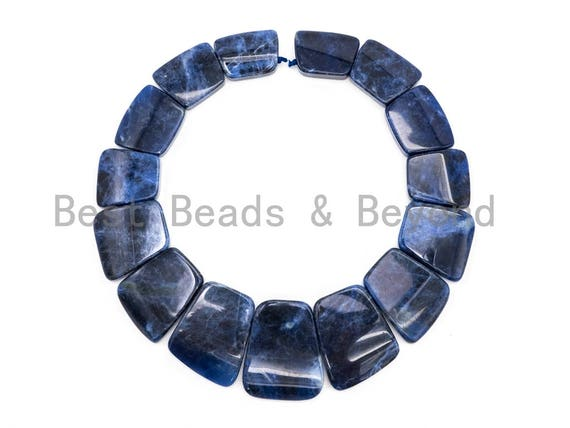 Quality Natural Sodalite Graduated 17-35mm Trapezoid Beads Strand, Natural Sodalite Gemstone Beads, 1 strand,sku#U220