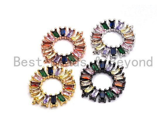 PRE-SELLING Baguette CZ Micro Pave Rainbow Donut Ring Connector for Bracelet Necklace, Cubic Zirconia Space Connector, 24x28mm,sku#E495