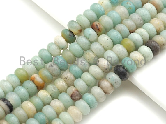 "2mm Large Hole Natural Amazonite Beads, Rondelle Smooth 6x10mm/5x8mm, 8"" Long Strands, sku#U717"