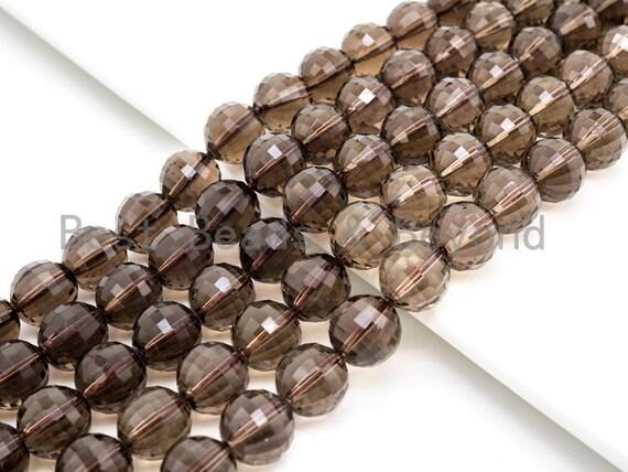 High Quality Natural Watermelon Cut Faceted Smoky Quartz beads, 8mm/10mm/12mm, Round Brown Quartz Gemstone Beads, 15inch strand, SKU#V13