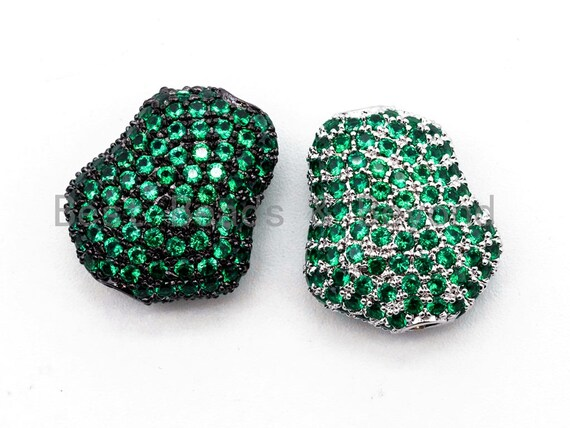 Green CZ Micro Pave Nugget Shape Spacer Beads with for Bracelet/Necklace, Cubic Zirconia Beads,15x17x8mm, sku#Y57