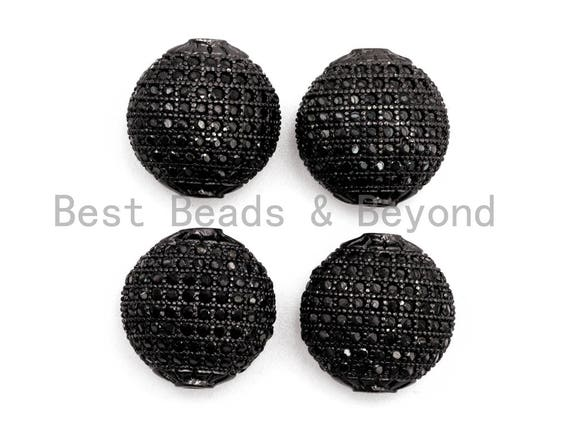 Black CZ Pave On Black Micro Pave Flat Oval Spacer Beads with Black Crystal for Bracelet/Necklace, Spacer Beads 14x14x9mm, sku#G327