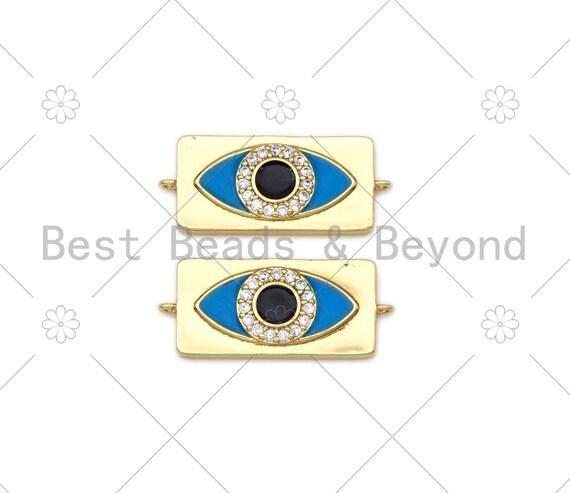 Turquoise Blue Enamel Evil Eye On Rectangle Shape Connector, 18K Gold Filled CZ Micro Pave Enamel Link,Enamel Jewelry,30x13mm,Sku#L596