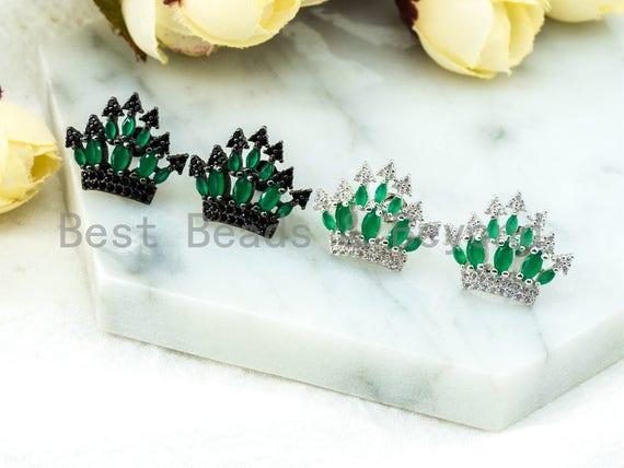 CZ Micro Pave Emerald Silver Crown Ear Studs, Crown Earrings, Bridesmaid Earrings, Wedding Earring, 20x21mm,1pair, sku#O52