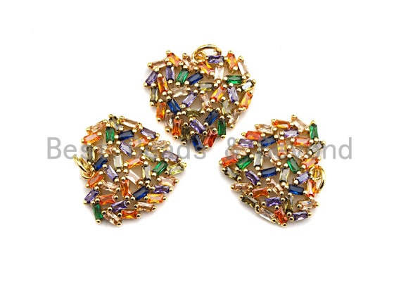 PRE-SELLING Colorful Baguette CZ Micro Pave Cluster Heart Shape Pendant, Cz Pave Bracelet Necklace Pendant in Gold Finish,21x19mm, sku#F908
