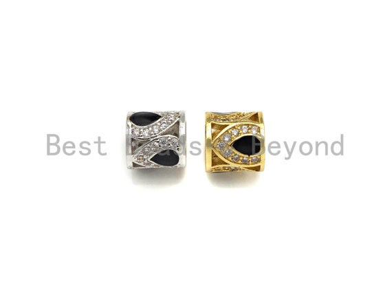 CZ Micro Pave Big Hole Drum Barrel space beads, Micro Pave Beads / CZ Bead / Clear Black Cubic Zirconia beads, 8.5mm,sku#Z1096