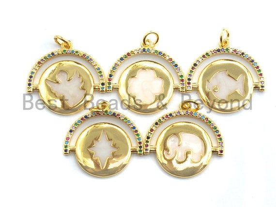 PRE-SELLING CZ Micro Pave Round Enamel Pendant, Animal Shape Pave Charm,Gold plated, Earring Bracelet Findings,22x22mm,Sku#F864