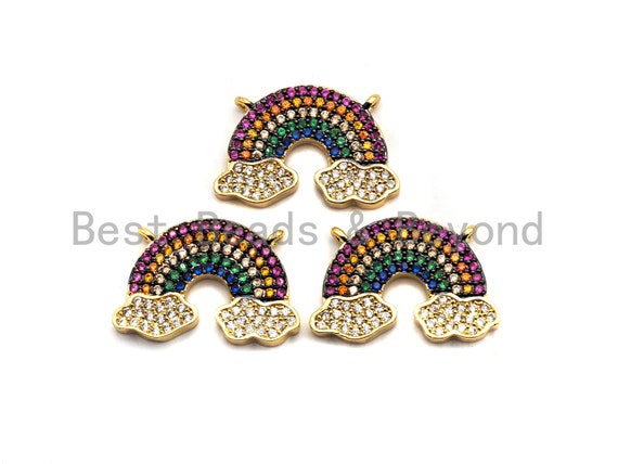 PRE-SELLING CZ Colorful Micro Pave Rainbow With Two Cloud Pendant, Rainbow Shaped Pave Pendant, Gold plated, 14x21mm, Sku#F851