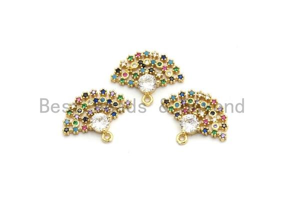 Multi Color CZ Micro Pave Fan Shape Pendant, Fan Shaped Pave Charm, Gold plated, Earring Bracelet Findings, 16x20mm, Sku#B111