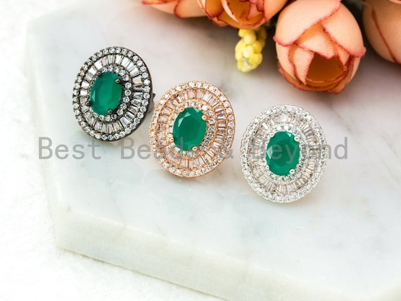 Emerald With CZ Micro Pave Oval Earring, CZ Pave Earrings, Rose gold, silver, Gunmetal Cubic Zirconia Earrings,16x18mm,1pair, sku#O53