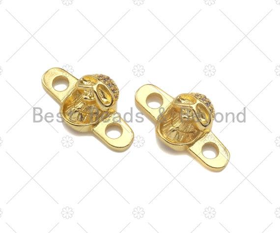CZ Micro Pave Skull Connector,18K Dainty Gold Cubic Zirconia Charm, Necklace Bracelet Charm Pendant,11x20mm, Sku#LK258